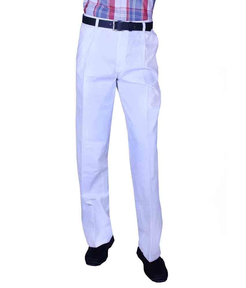 Koutons White Plated Straight Formal Trouser
