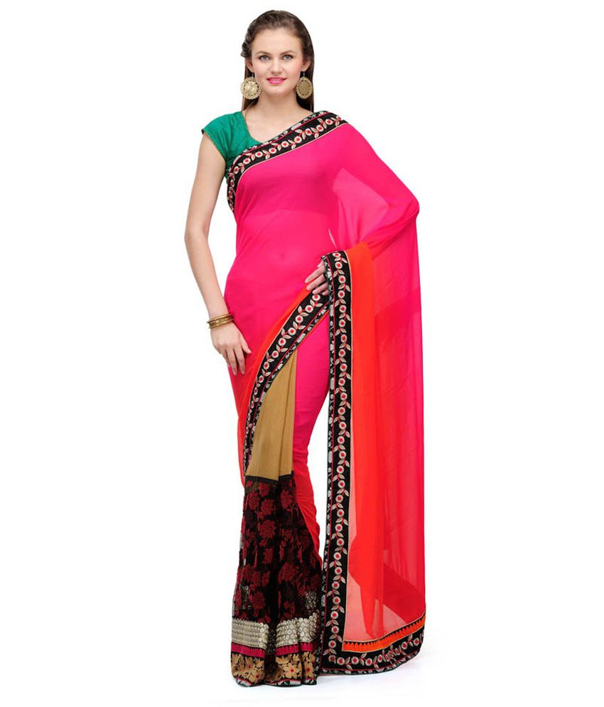 Fabroop Magenta Shaded Faux Chiffon Saree