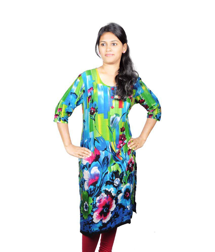 Mansa Green Blue Floral Printed Kurti
