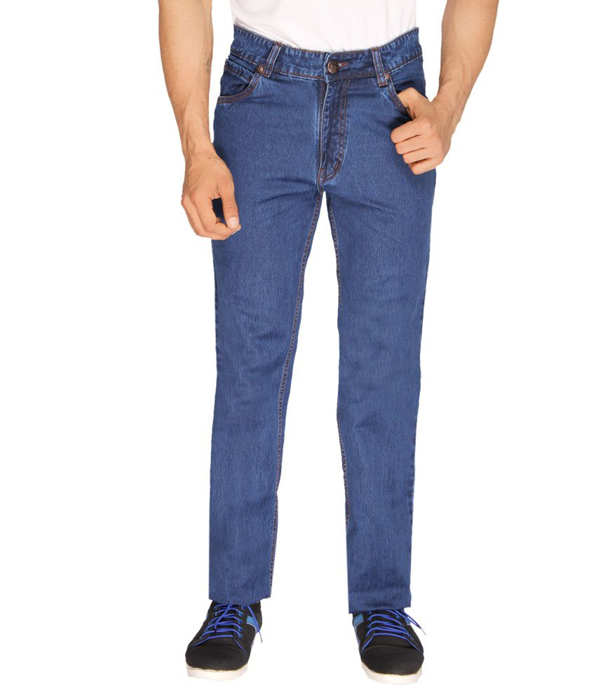 Sl Play Blue Cotton Regular Fit Men's Jeans