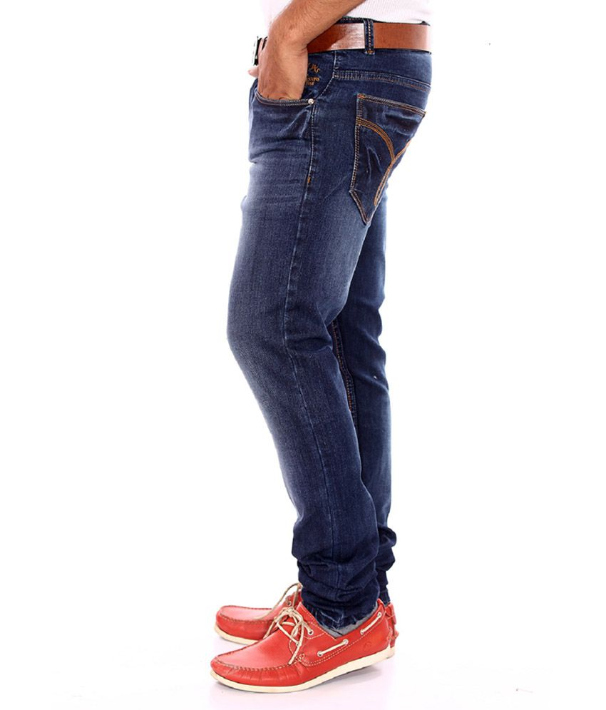 26b31383 Sparky Blue Cotton Faded Slim Fit Jeans - Buy Sparky Blue Cotton ...