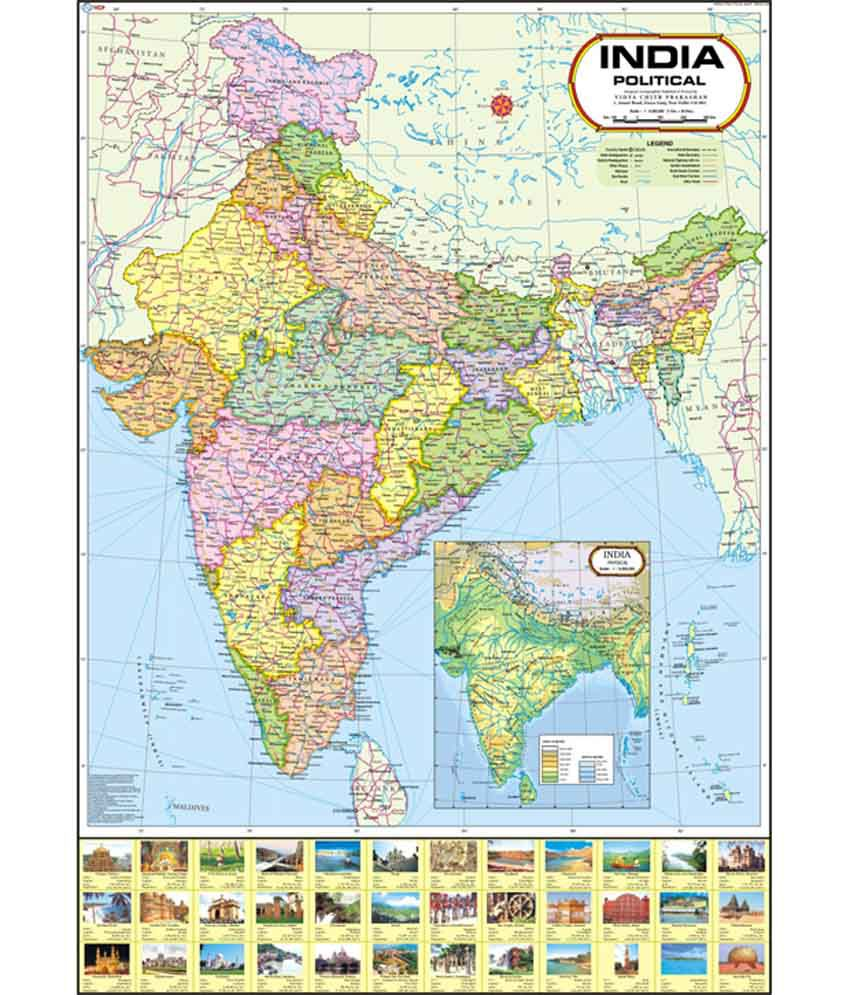 Vidya Chitr Prakashan India Political Map Buy line at Best Price