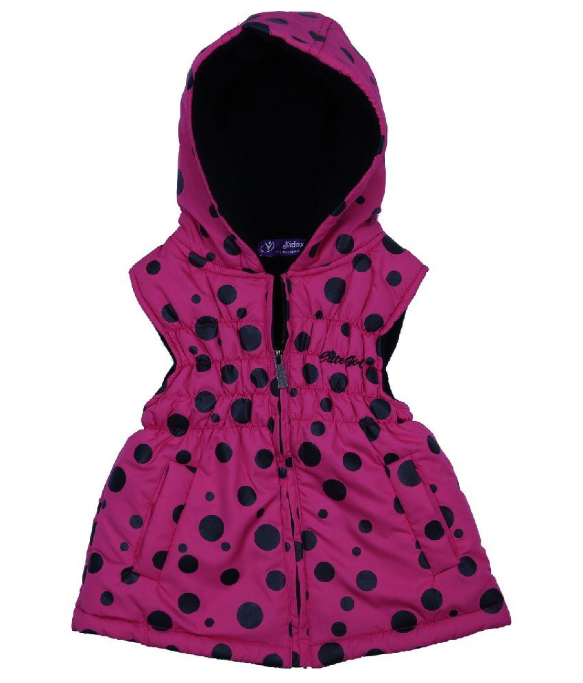 Woollen Wear Sleeveless Pink Color Jacket For Kids