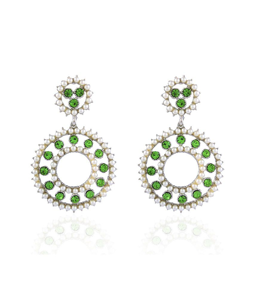 Accessher Green Style Diva Double Circled Earrings