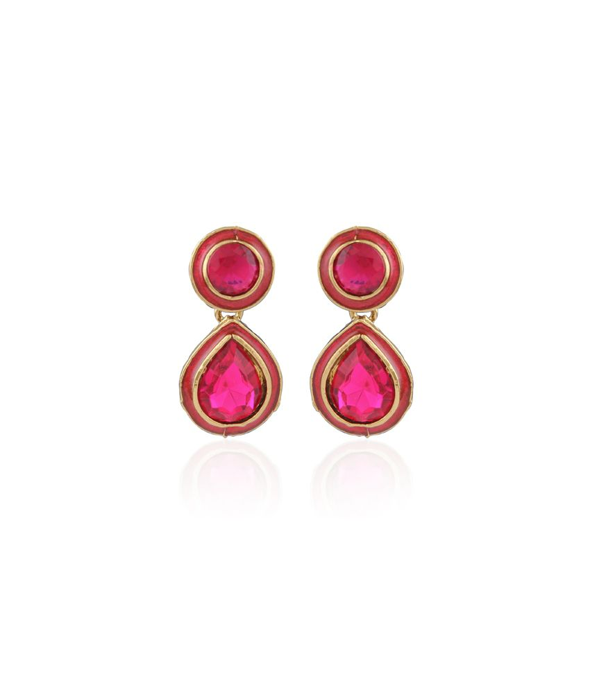 Accessher Pink Antique Big Bang Diamond Pink Earrings