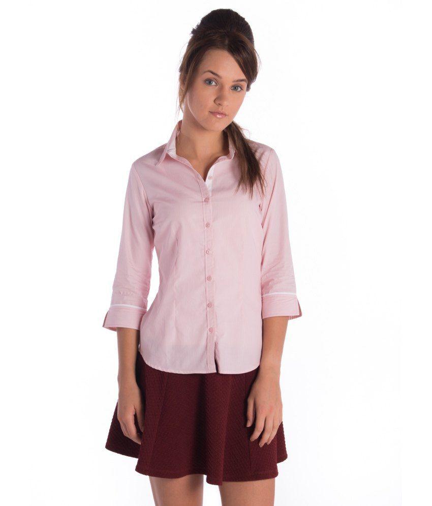 Bombay High Striped Formal 3/4 Sleeve Shirt Aw14wfsht-002 Pnk