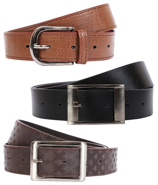 Export Fashion Brown And Black Leather Belts -set Of 3