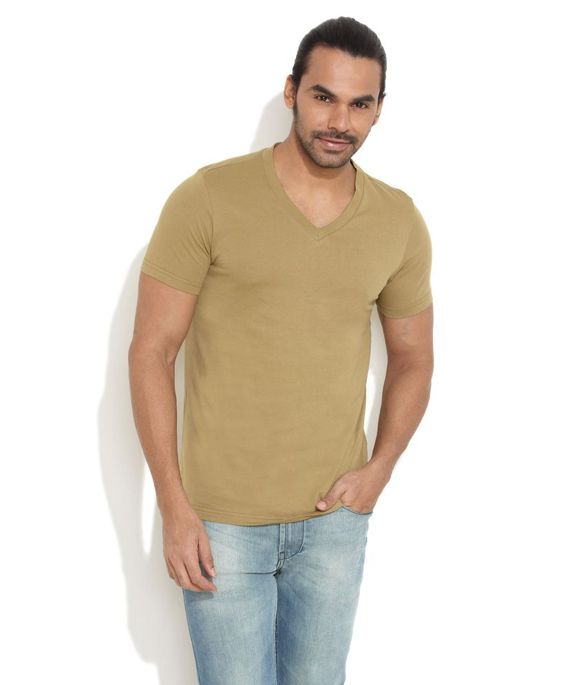 Freecultr Olive Green Weekend Wear Cotton T-Shirt
