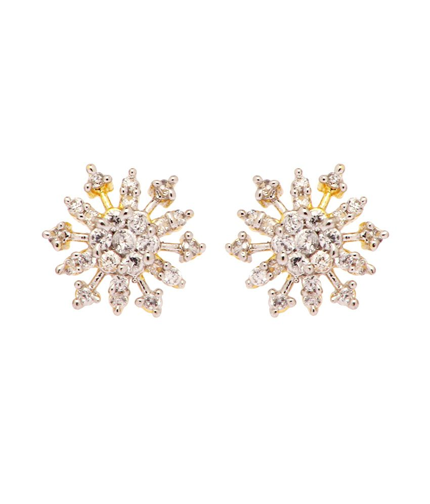 Rays Gold Plated White Cz Stud Earring