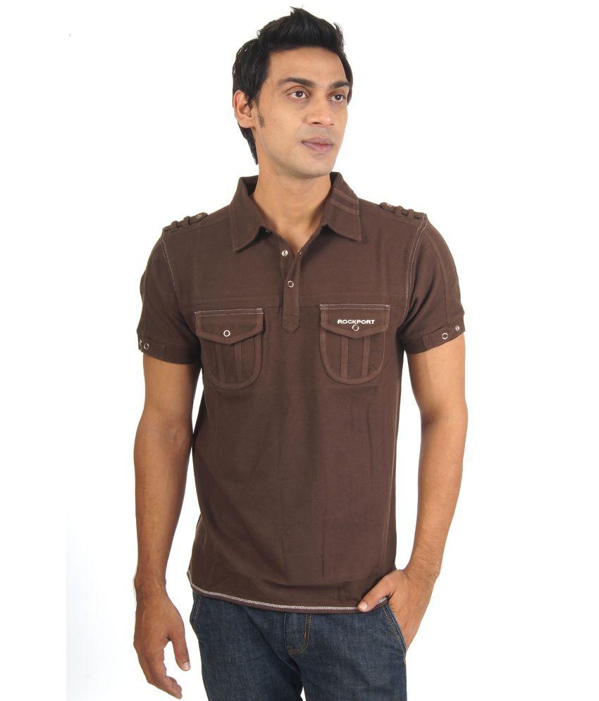 Rockport Rockport Brown Cotton Half Sleeveless Men's T-Shirt