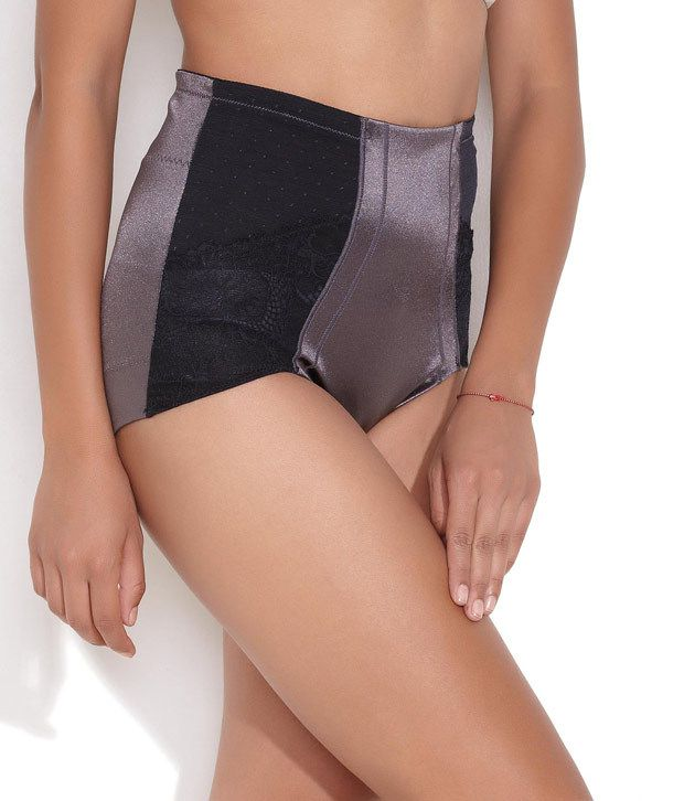 Scandale Light Grey Mid Waist Shaping Brief With Lace