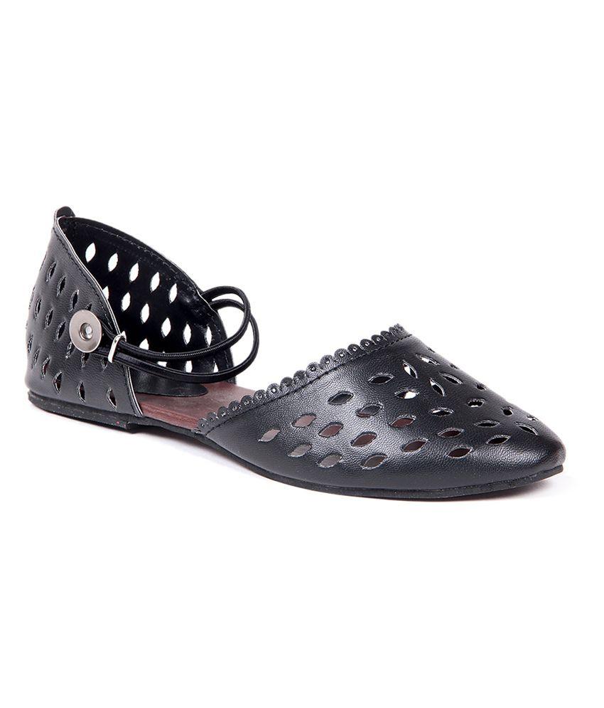 Ten Black Flat Daily Wear Flat Sandal