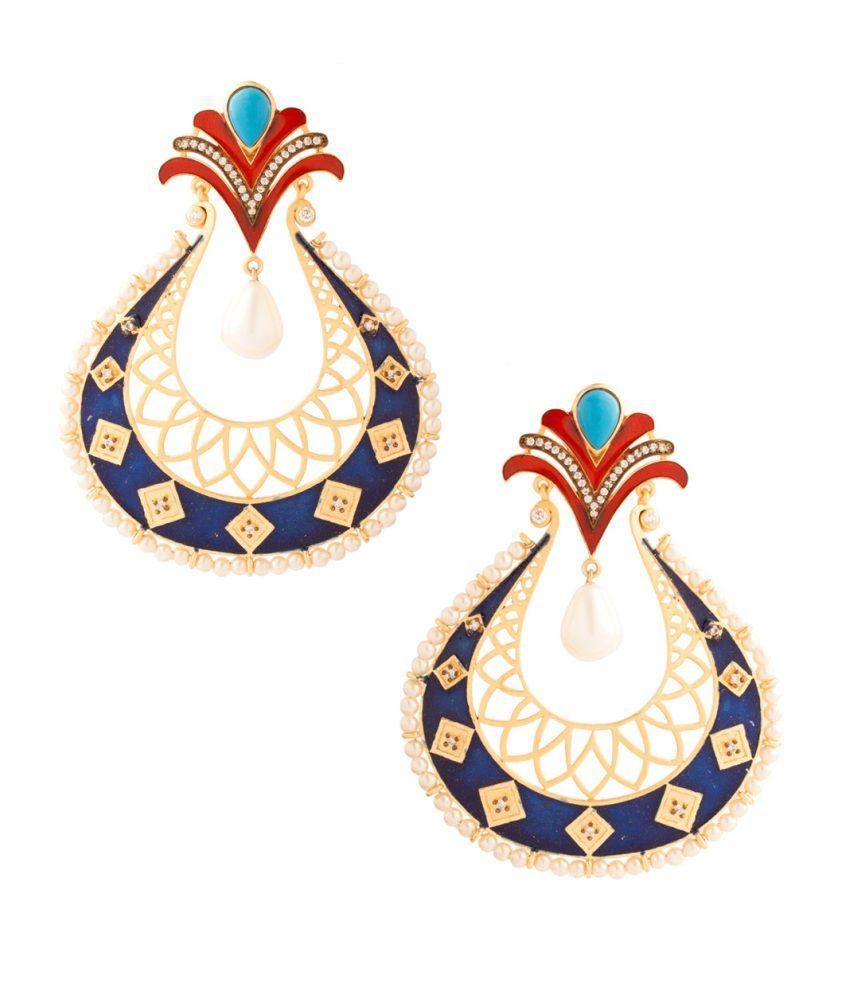 Voylla Festive Dangler Earrings With Blue Enamel Work And Pearl Drop