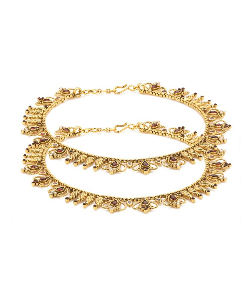 Voylla Gold Plated Anklets Adorned With Red Color Stones And Pearl Beads