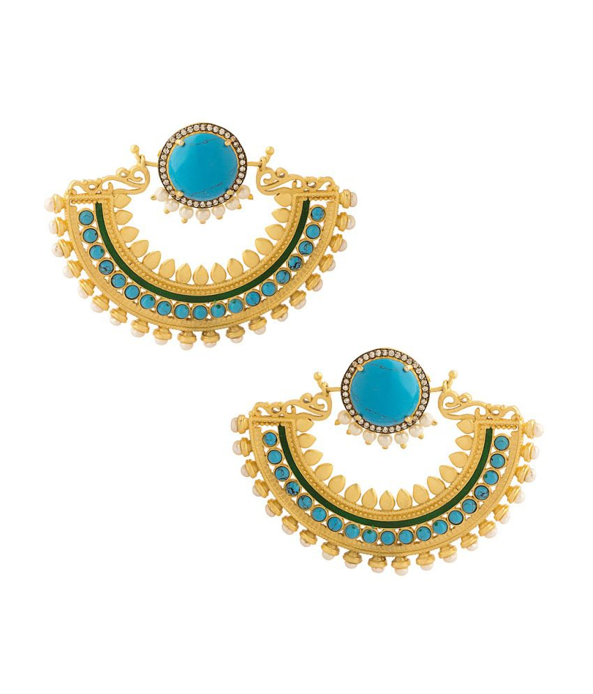Voylla Pair Of Yellow Gold Plated Earrings With Faux Turquoise