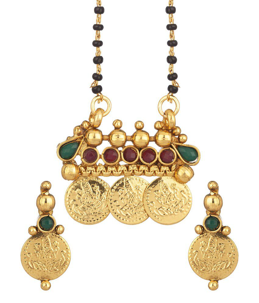 Voylla Single Chain Temple Inspired Mangalsutra Set Featuring Green And Red Colored Stones