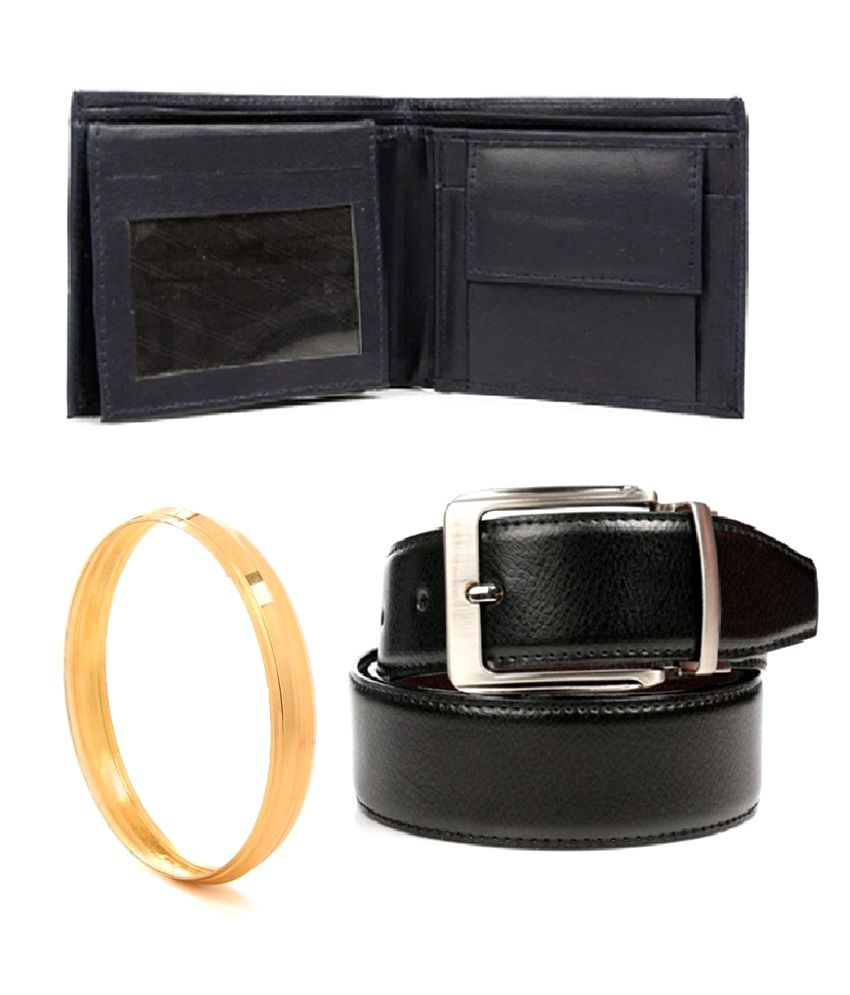 Combo of 1 Reversible Belt ( Black and Brown), with 1 Navy Blue Coloured Wallet and Sikkhi Kada by GoldNera