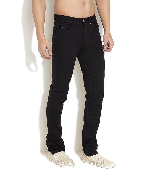 Web Jeans Medium Blue Blackout Straight Fit Jeans