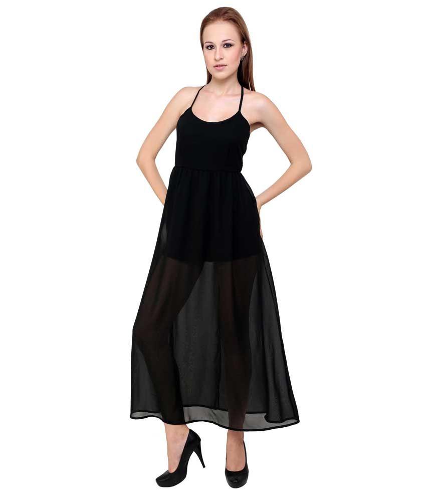 Anasazi Black Poly Georgette Dresses
