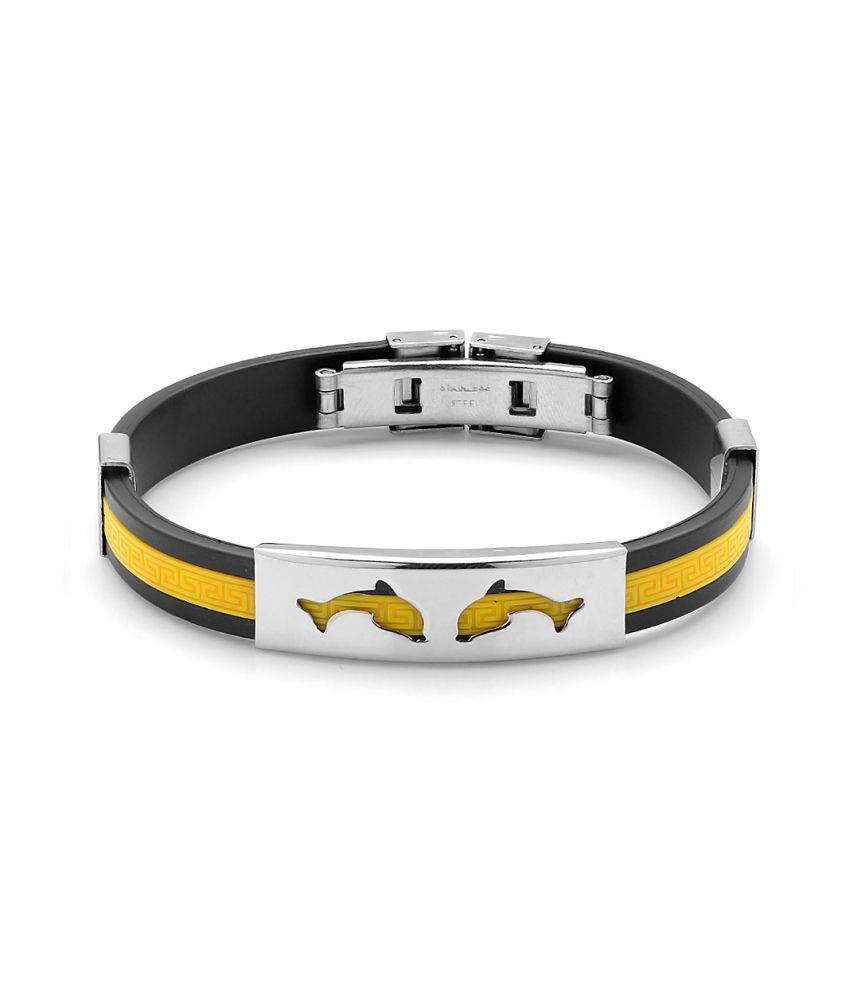 Voylla Black And Yellow Rubber Bracelet Band With Stainless Steel, Size 2.625