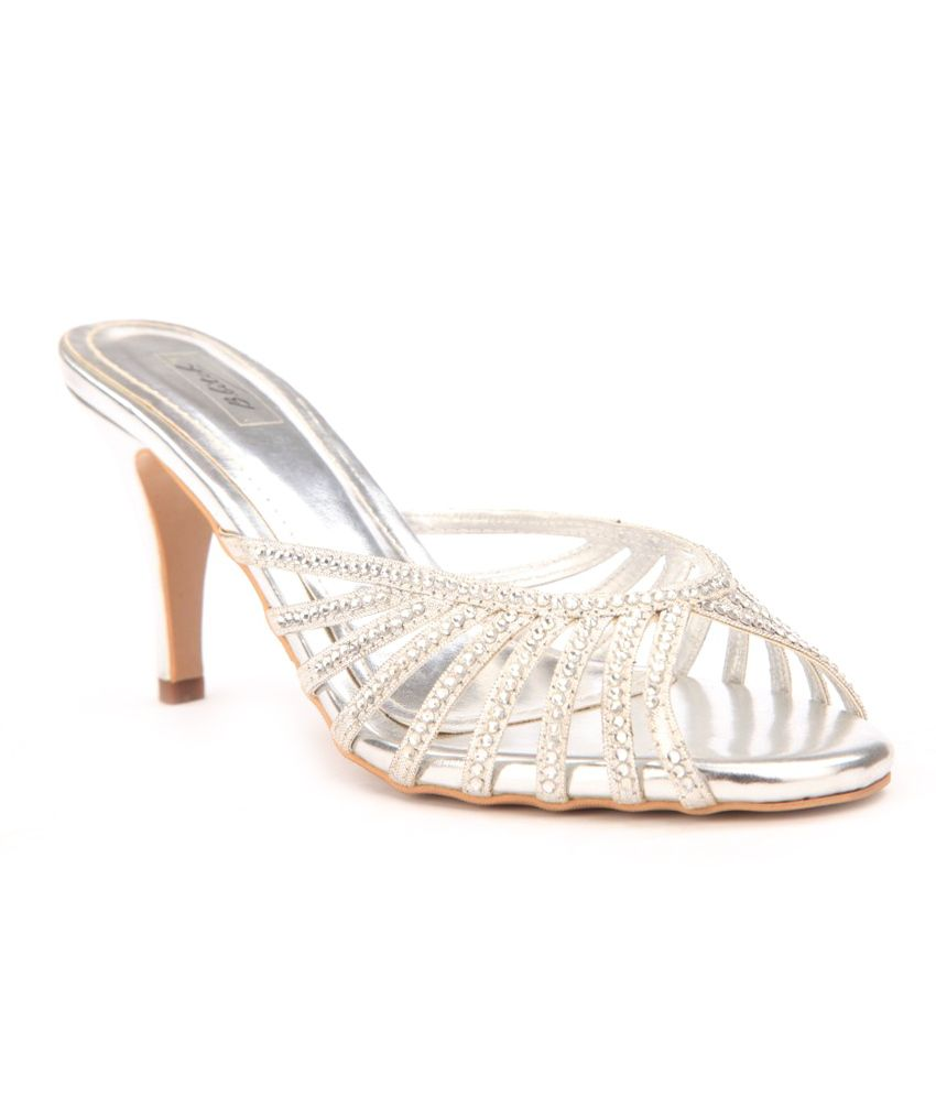 B Bitch Silver Womens-heeled Sandals