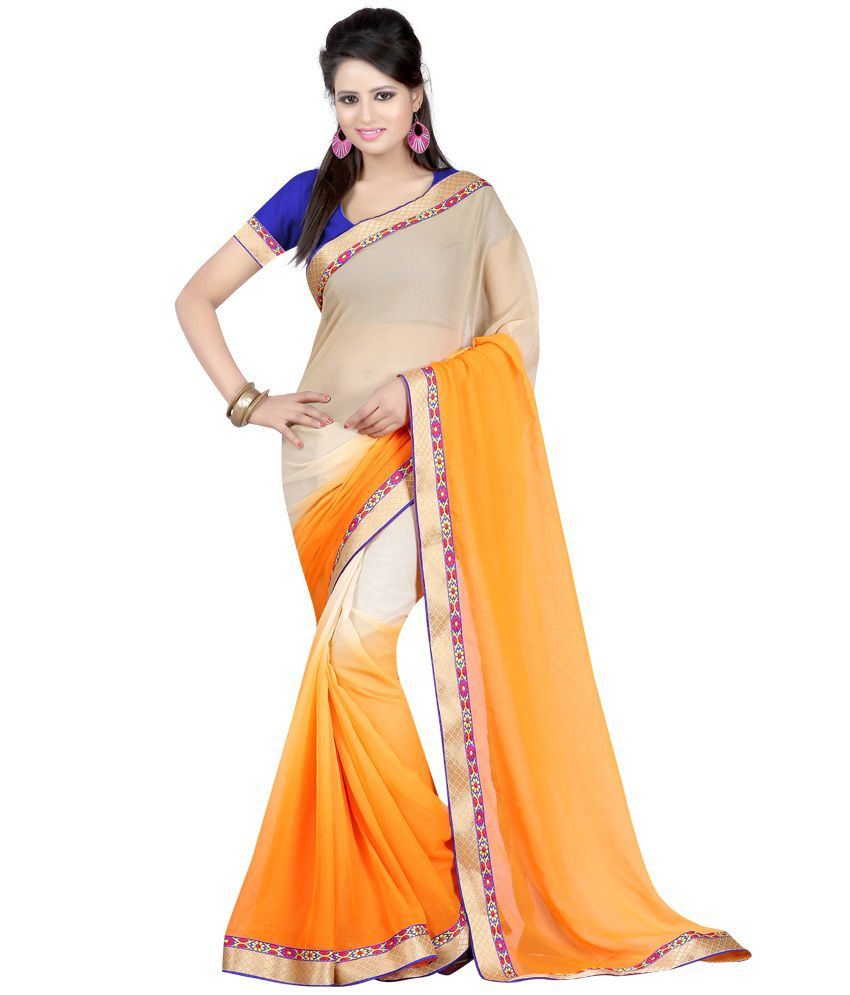 Fashiondeal Orange Faux Georgette Saree