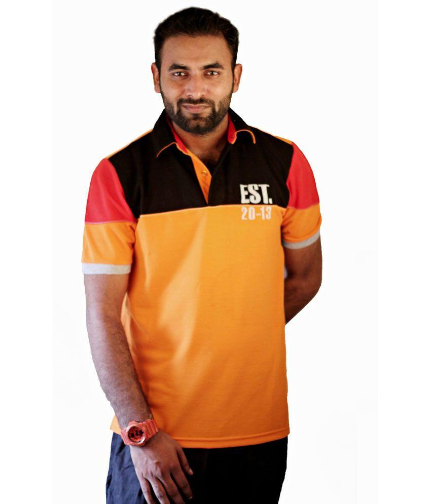 Kuack Orange Cotton Blend Half Sleeve Mens T-shirt
