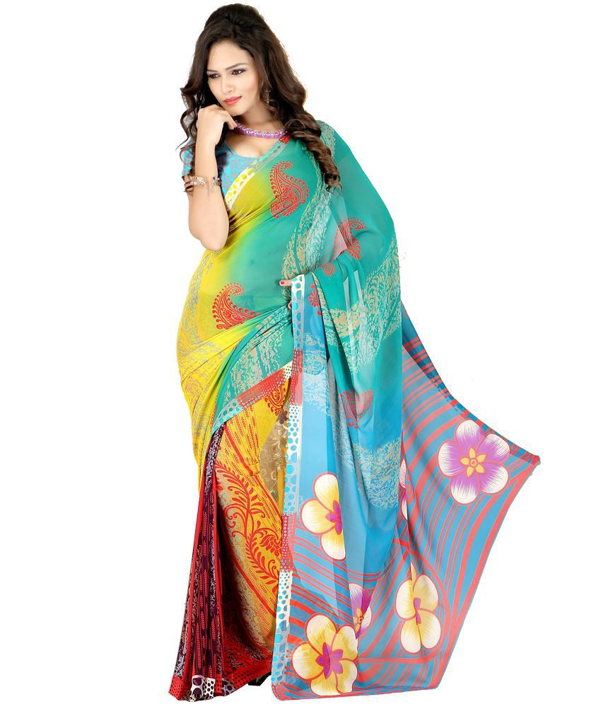 Laxmi Sarees Multicoloured Georgette Saree