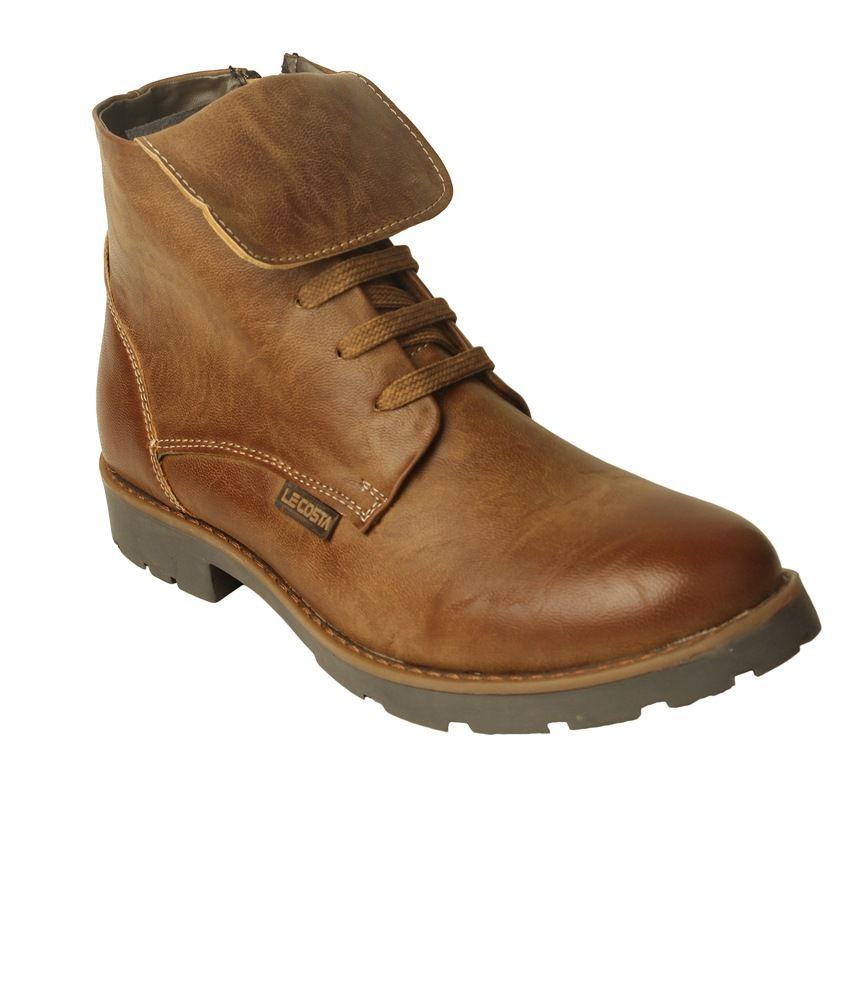 Le Costa Beige Faux Leather Partywear Boots