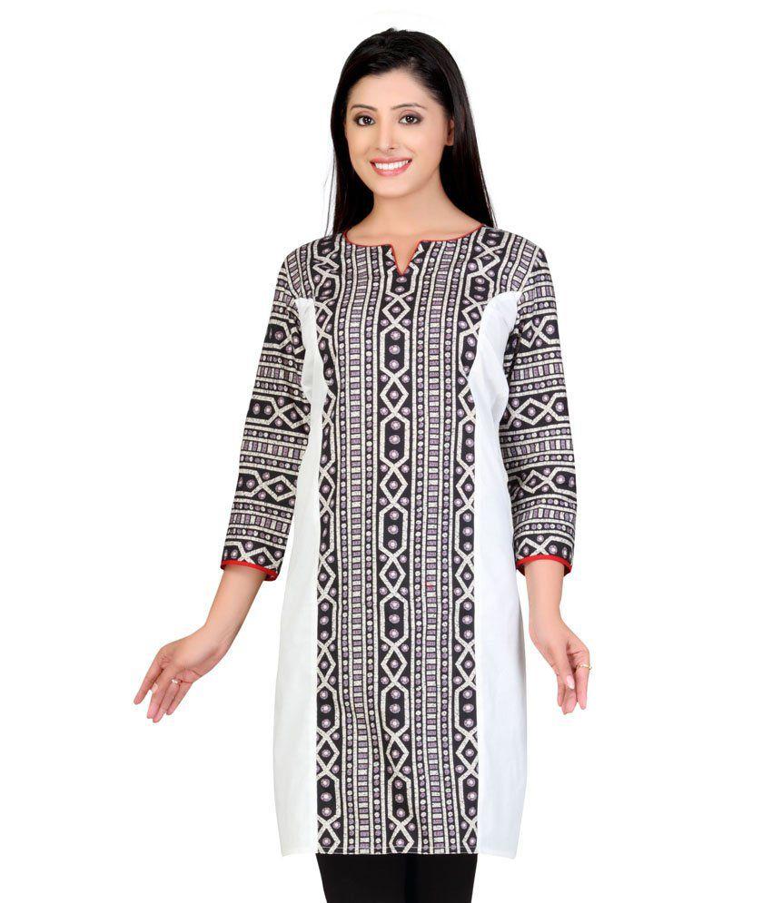 Lifestyle Lifestyle Retail White Cotton Handcrafted Cotton Women Straight Kurti