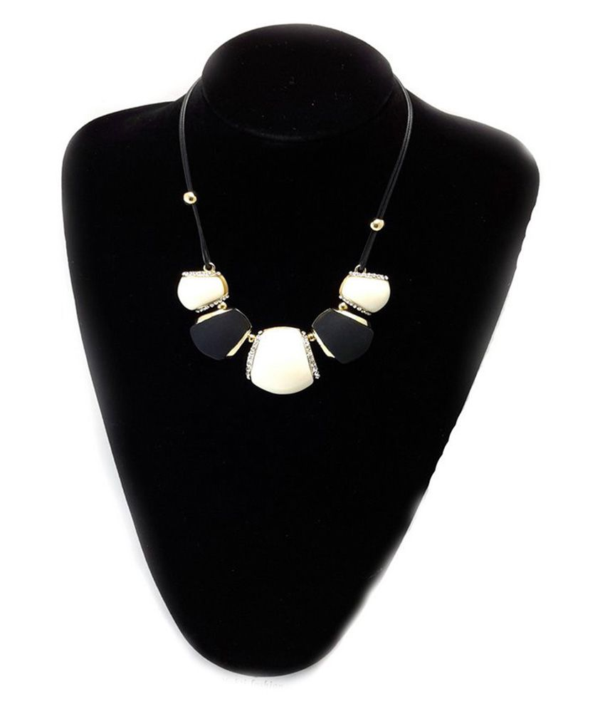 Mfw Black Contemporary Statement Necklace Set