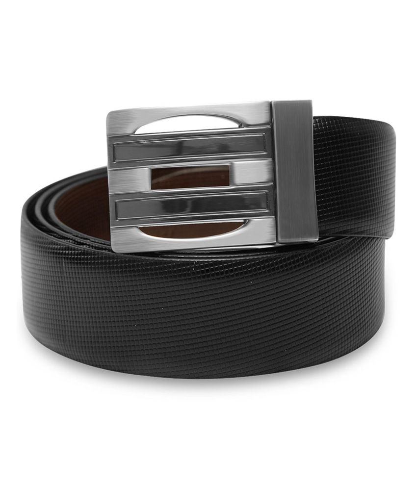Stephen Armor Black Leather Reversible Formal Belt For Men