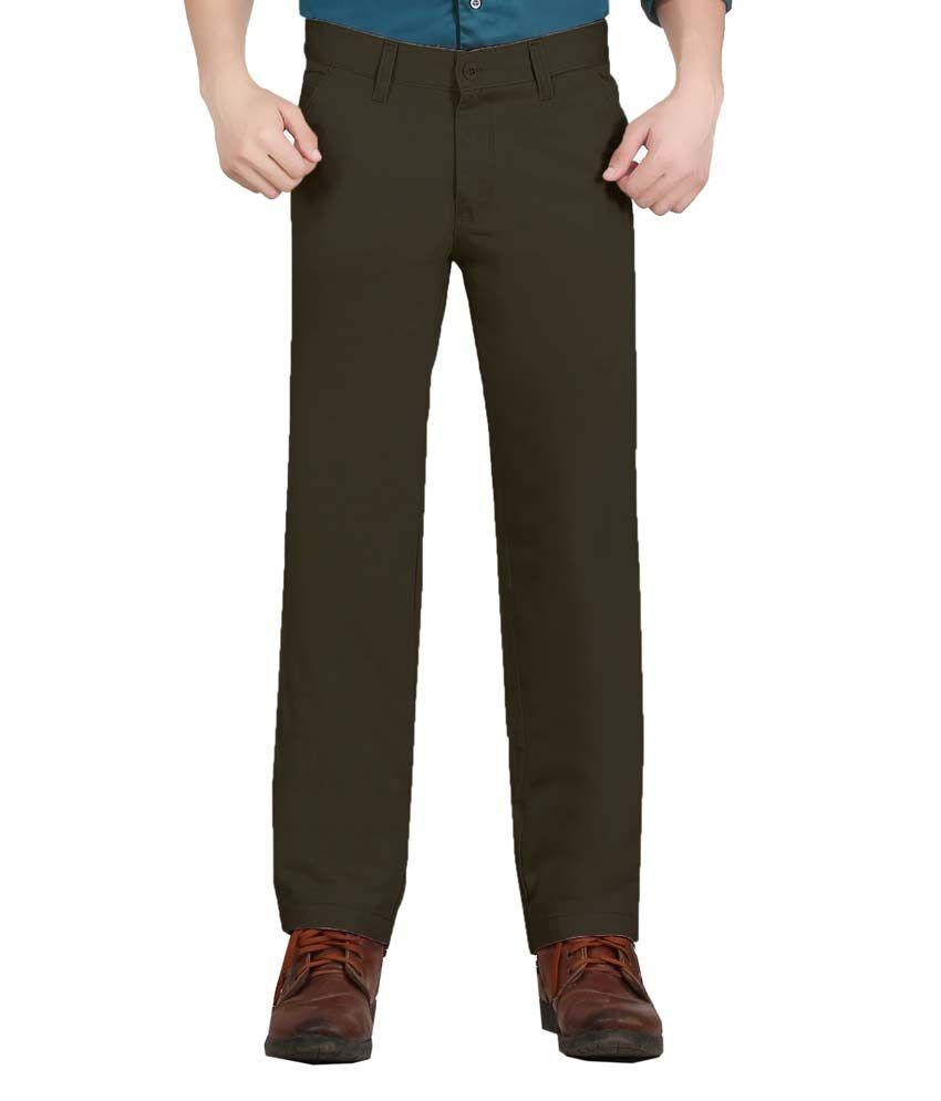Vituda Green Cotton Lycra Flat Semi Formal Trouser