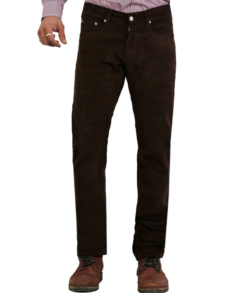 Dare Dashing Brown Regular Comfortt Fit Mid Rise Corduroy Trouser For Men | Da1864