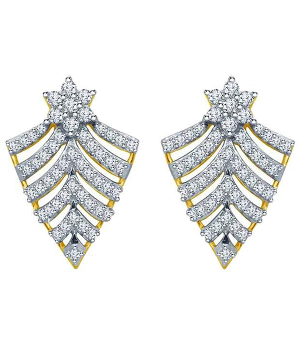 Eldora 18kt Gold Plated Pleasing American Diamond (cz) Stud Earrings