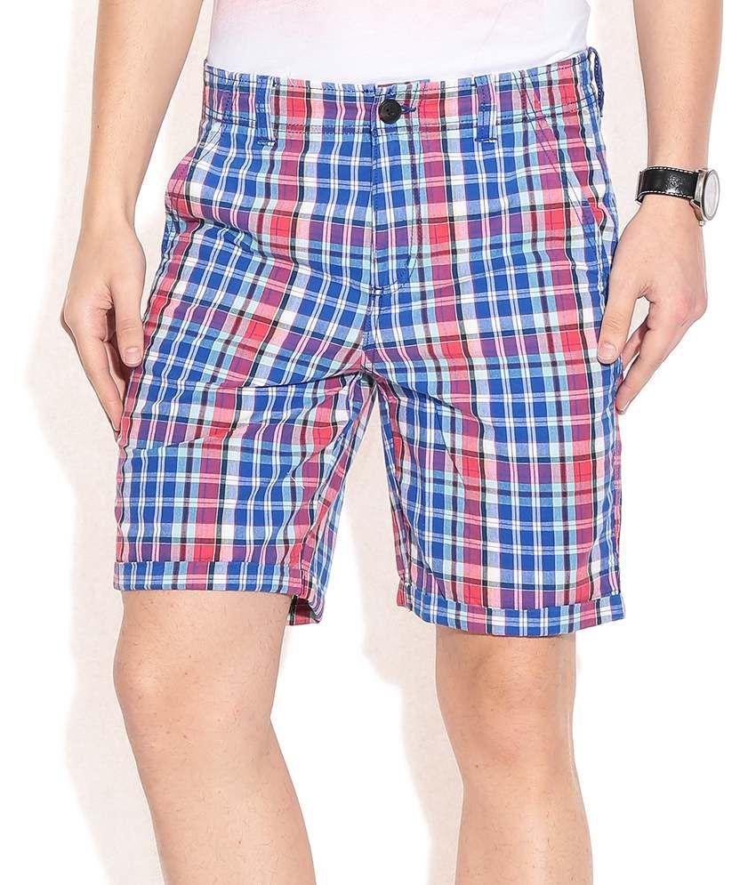 Jack & Jones Navy Checks Shorts