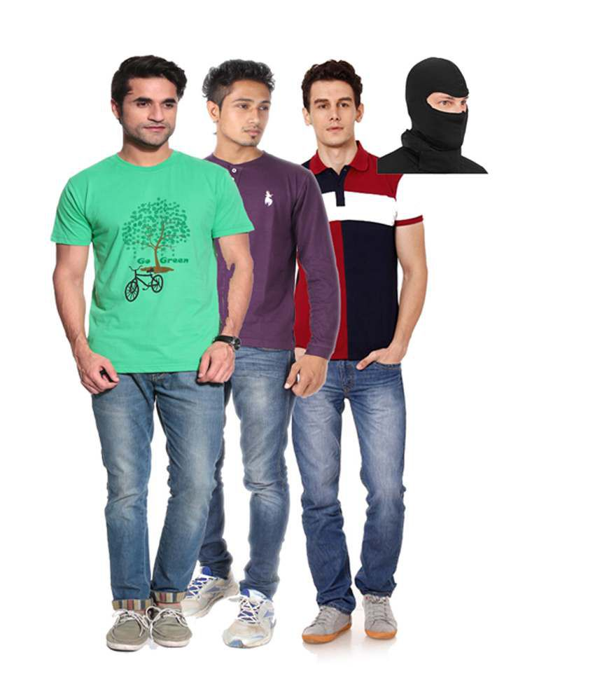 Posh 7 Purple And Maroon And Green Combo Of 3 T Shirt + 1 Mask Free