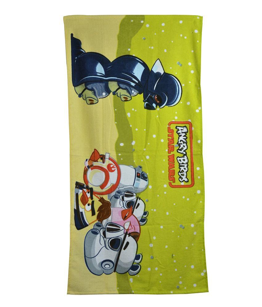Sassoon Angry Birds Green Cotton Bath Towel