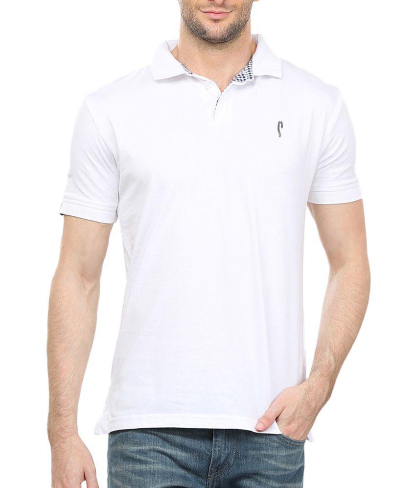38198525a1b Stride White Collar Neck T-shirt - Buy Stride White Collar Neck T ...