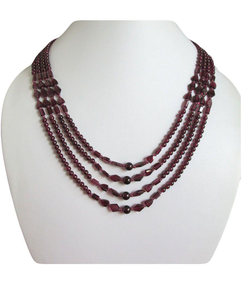 Anushruti Red Garnet Beads Necklace