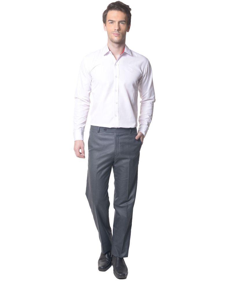 Skookie Grey Cotton Blend Flat Formal Trouser