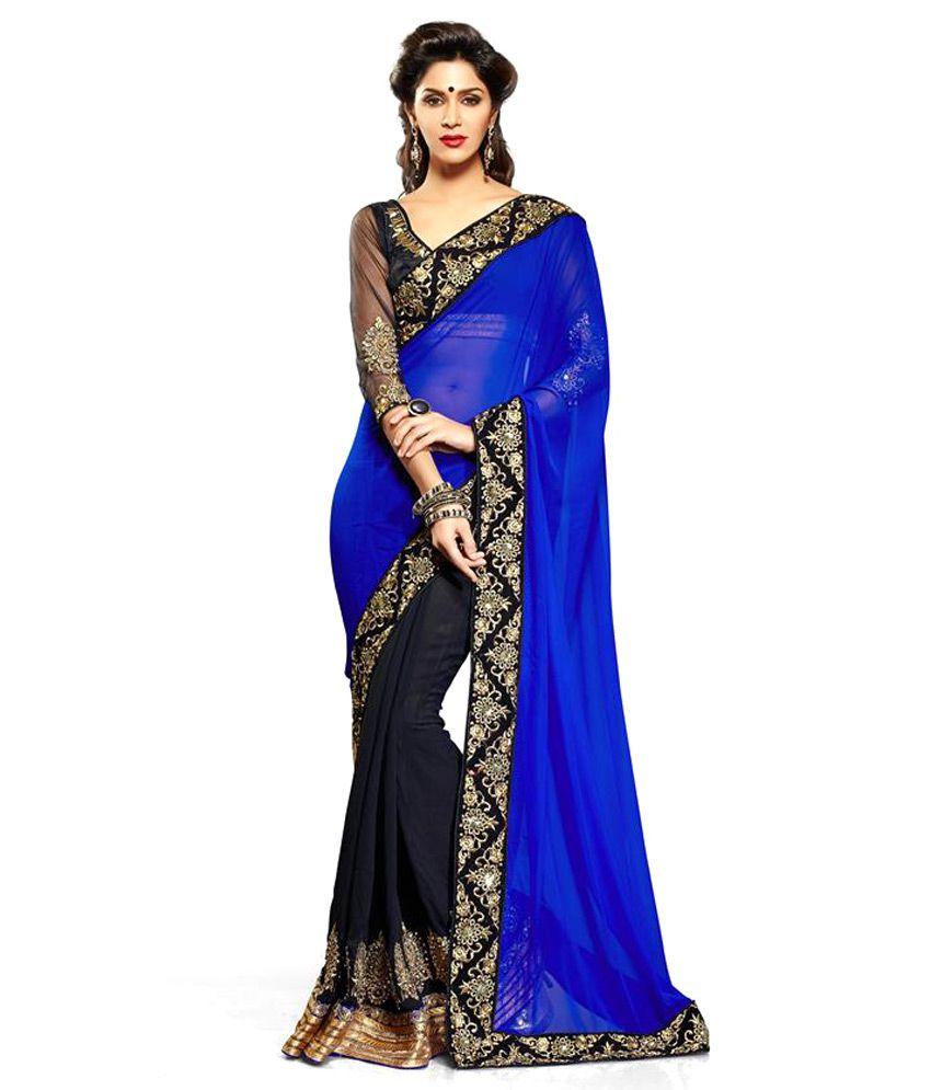 c2415c46553729 Vandana Online Blue and Black Faux Georgette Saree - Buy Vandana Online Blue  and Black Faux Georgette Saree Online at Low Price - Snapdeal.com