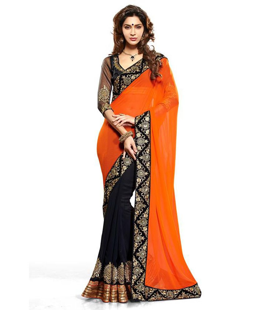 Vandana Online Orange Faux Georgette Saree - Buy Vandana Online ...