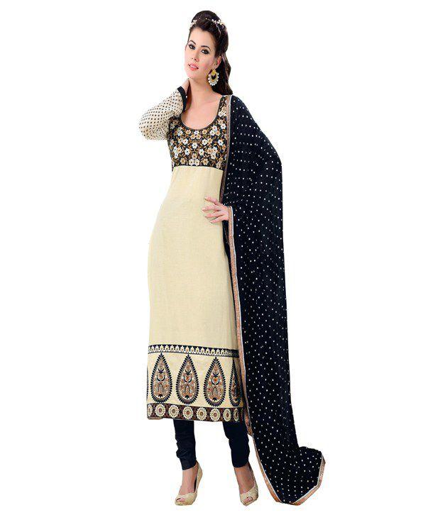 Didi Off White Most Beautiful Regular Fit Anarkali Dress Material