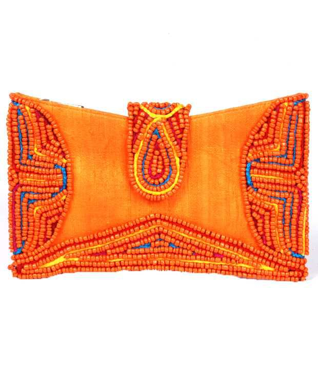 Favola Orange & Yellow Clutch