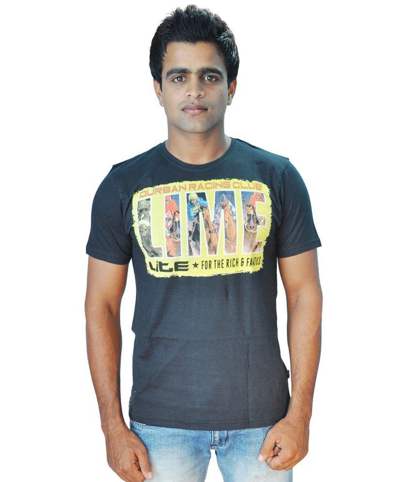 Limelite Black Cotton Blend Half Sleeve Printed Men T Shirt