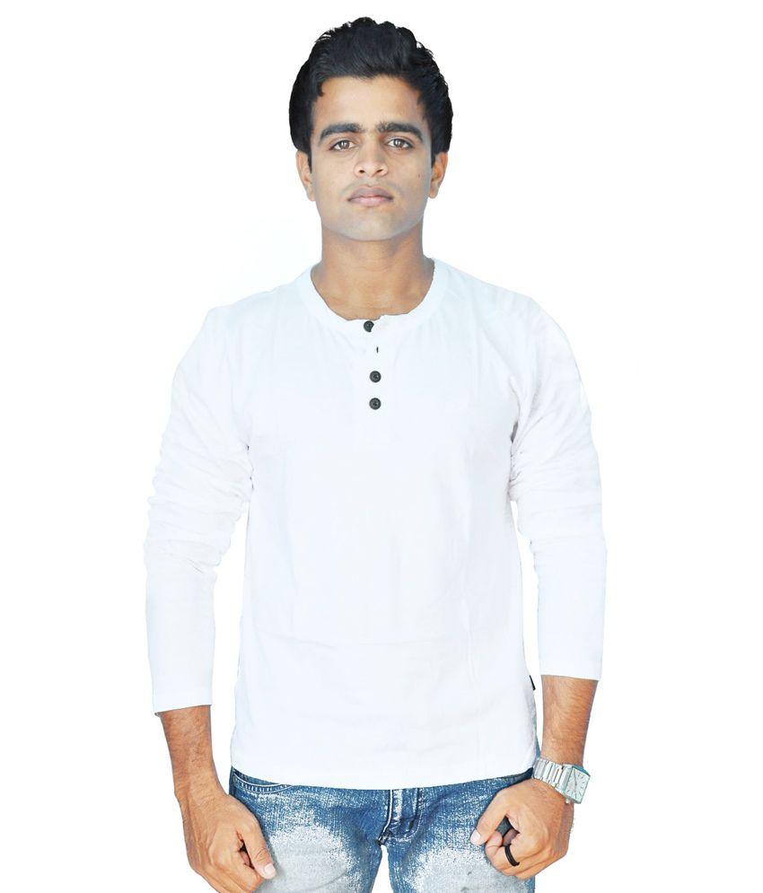 Limelite White Cotton Blend Full Sleeve Men T Shirt