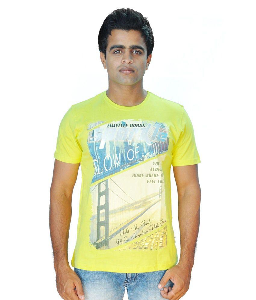 Limelite Yellow Cotton Blend Half Sleeve Printed Men T Shirt