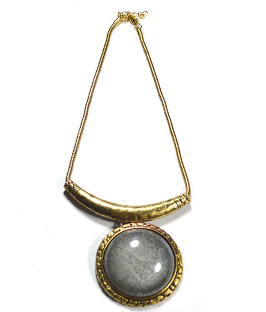 Volaliva Brass Pendant Statement Artificial Jewellery Necklace Set