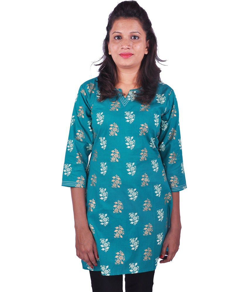 Womens Cottage Green Cotton Printed Short 3/4th Sleeves Kurti